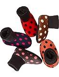 HASLRA Unisex Baby Little Girls' Little Boys' Winter Non-Slip Warm Slipper Socks 5 Pairs (DOT)