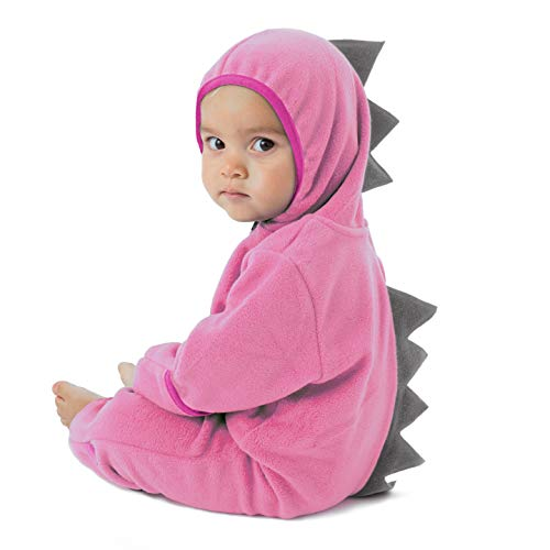 Funzies Baby Bunting Fleece Hooded Romper Bodysuit (DinoPink/Grey0-3m) -