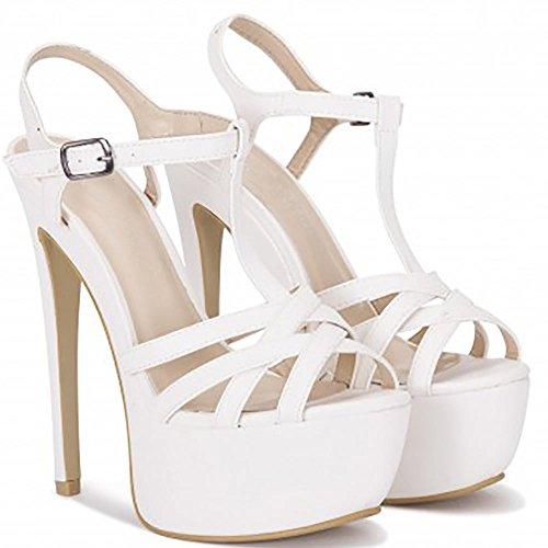 Womens Weiße Riemchensandalen Stilettos Plattformen High Heels Schuhe UK7/EURO40/AUS8/USA9