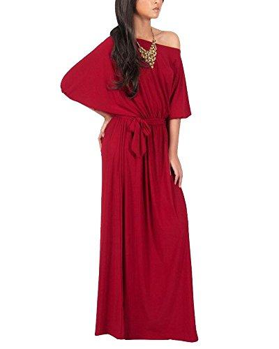 Vestido Para Mujer Largo Sin Hombro De Fiesta Cóctel Tallas Grandes Elegante Rojo