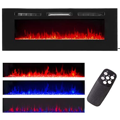 XtremepowerUS Recessed Electric Fireplace in-Wall Wall Mounted Electric Heater Fireplace 750W 1500W (50