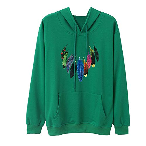 Printed Green Women's Pullover Sleeve Shirt Feather Outwear Casual Sweater Jacket Coat Tops Blouse Hooded Crewneck Long Sweatshirt Hoodie T8qxr6wTg
