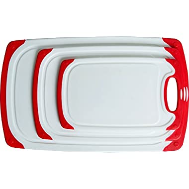 CC Boards 3-Piece Nonslip Cutting Board Set: Red and white plastic kitchen carving boards, each with juice groove and non skid handle; dishwasher safe