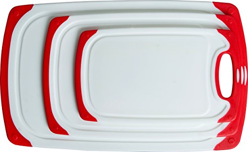 CC Boards 3-Piece Nonslip Cutting Board Set: Red and white plastic kitchen carving boards, each with juice groove and nonskid handle; dishwasher safe