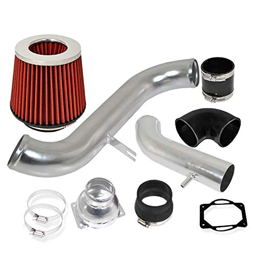 For 1991-1999 Mitsubishi 3000GT(SOHC Engines Only)/1991-1996 Dodge Stealth (Non-Turbo Only) 2.5 Inch Aluminum High Flow Cold Air Intake System Polish Pipe with Air Filter Red