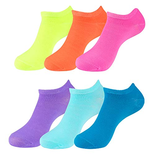 Ladies Assorted Solid (6PK) No-Show Socks