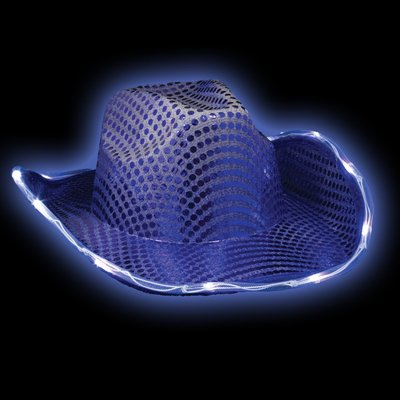 Glitter and Blinking Blue Sequin Cowboy Hat with LED Lights (Adult Black Cowboy Hat)
