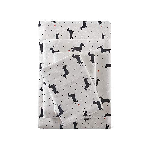 True North by Sleep Philosophy Cozy Flannel Queen Bed Sheets, Casual Black Dogs Bed Sheet, Bed Sheet Set 4-Piece Include Flat Sheet, Fitted Sheet & 2 Pillowcases