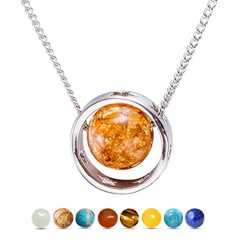 Msurs White Gold Plated Eight Planets in The Solar System-Venus Pendant Necklace