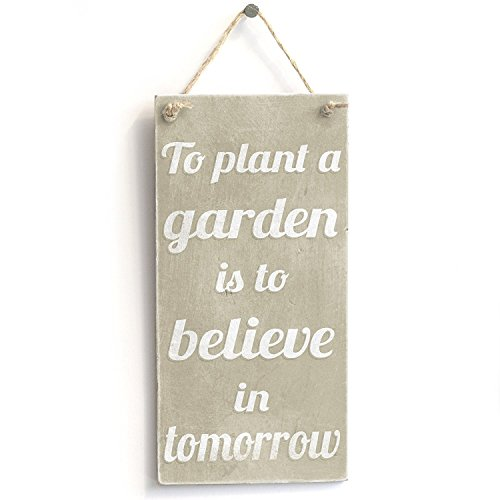 - Meijiafei Plant A Garden Believe - Rustic Small Motivational Gardening Sign 10