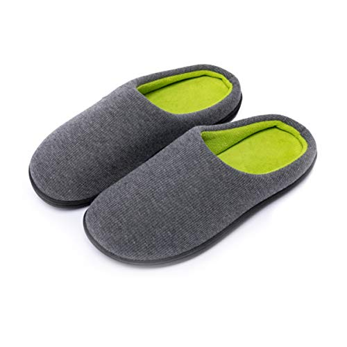 PromArder Womens Cozy Fleece Memory Foam Slippers Anti Slip Washable House Shoes Indoor/Outdoor (Small, Hemp Gray)