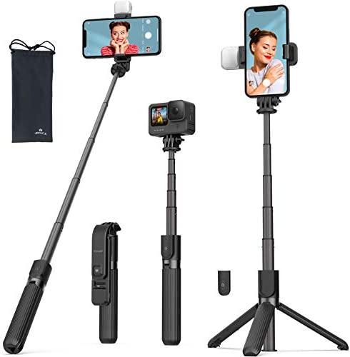 Selfie Stick Tripod with Fill Light ARTOFUL Phone Tripod Stand with Bluetooth Remote & 360°Rotation Compatible with iPhone12pro/12/12mini 11pro/11/XR XS/XS Max, Android, Gopro, Small Camera