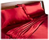 Royal Opulence Divatex Home Fashions Satin King Sheet Set, Red