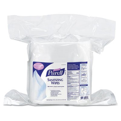 PURELL Hand Sanitizing Wipes, 6 inch x 8 inch, White, 1200/Refill Pouch, 2 Refills/Carton by Purell