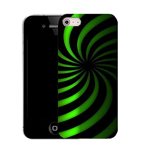 Mobile Case Mate IPhone 4 clip on Silicone Coque couverture case cover Pare-chocs + STYLET - green twirl dazzle pattern (SILICON)