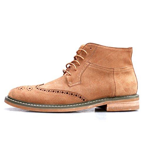 Santimon Mens Genuine Leather Suede Ankle Boots Shoes Khaki pscSX7c22d