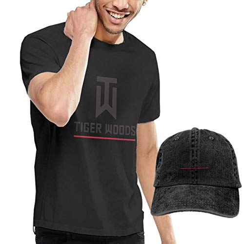 Tiger Logo Woods Adult Round Neck Short Sleeve T-Shirts Black and Adjustable Cowboy Hat M ()