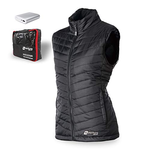 Venture Heat Women's Heated Vest with Battery 12 Hour - The Roam Puffer Heated Vest for Women (Medium, Black)