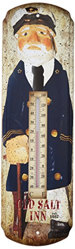 (Old Salt Inn Tin Metal Thermometer | Vintage Rustic Home Decor Wall Art | 17 x 5 Inch)