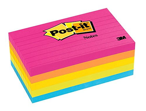Post-it Notes 6355AN Original Pads in Cape Town Colors, 3 x 5, Lined, 100-Sheet (Pack of 5) (Halloween Town 5)