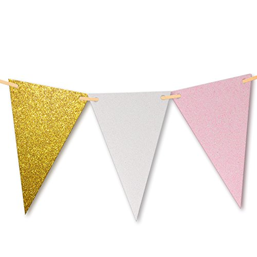 (10 Feet Vintage Double Sided Glitter Triangle Flag Bunting Pennant Banner for Wedding Birthday Baby Shower Home Teepee Decor, Upgrade Glitter Version, Gold+White+Pink 15 Flags, Pack of 1)