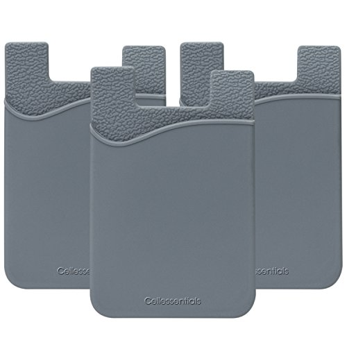 Cellessentials Card Holder for Back of Phone - Silicone Stick on Cell Phone Wallet with Pocket for Credit Card, ID, Business Card - iPhone, Android and Most Smartphones - 3 Pack(Grey)