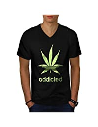 Addicted Weed Glow In Men NEW Black S-2XL V-Neck T-shirt | Wellcoda