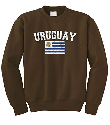- Cybertela Faded Distressed Uruguay Flag Crewneck Sweatshirt (Brown, Large)