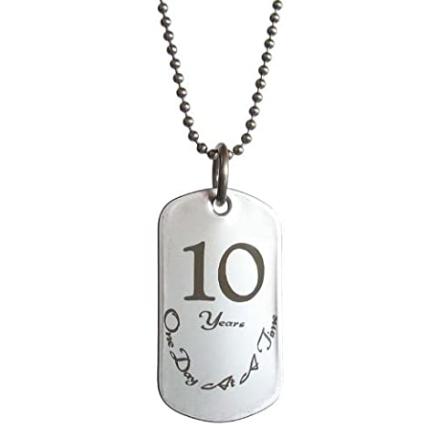 10 Year Sobriety Anniversary Stainless Steel Dog Tag Necklace For Sober Birthday AA Alcoholics Anonyous NA Narcotics Anonymous
