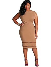 2d8f410d2a7 Womens Plus Size Sleeveless Slim Fit Bodycon Cocktail Party Midi Dress