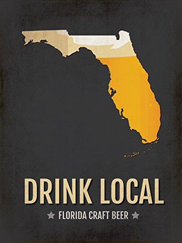 Florida Beer Print Map - FL Drink Local Craft Beer Sign - Boyfriend Gift, Husband Gifts for Him, Beer Gift, Miami, Fort Lauderdale, Orlando