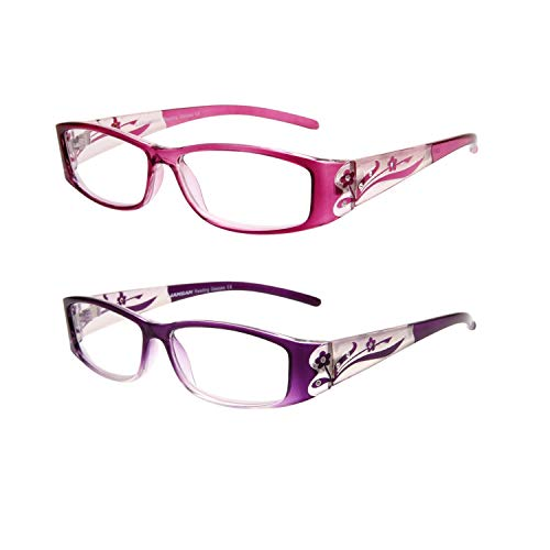 Rhinestone Readers 2 Pack Stylish Bling Reading Glasses for Women Floral Pattern Magnifying Eyeglasses Fashion Rectangular Ladies Glasses 1.00 Strength Pink Purple
