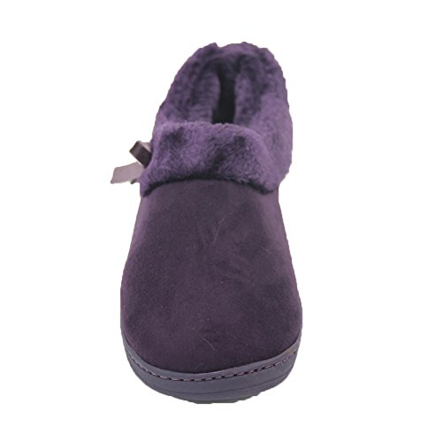 Gohom Mujeres Casual Low Top Gamuza Tela Barco Zapatos Púrpura