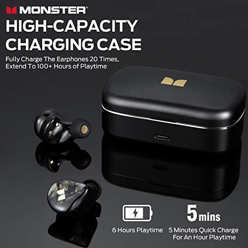 Monster Clarity 700dB AirLinks Wireless Earbuds, HiFi Sound, AptX, Black