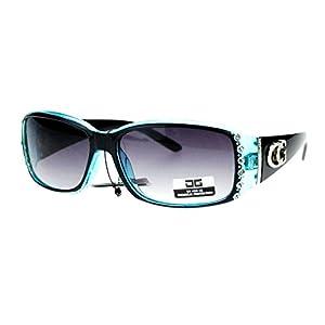 CG Eyewear Rhinestone Studded Narrow Rectangular Designer Fashion Sunglasses Black Blue