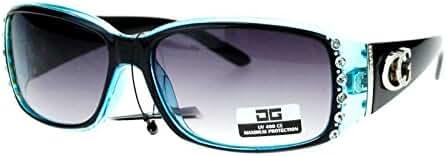 CG Eyewear Rhinestone Studded Narrow Rectangular Designer Fashion Sunglasses