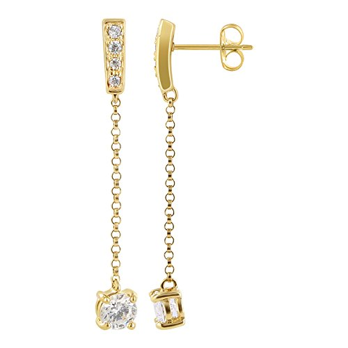 Gold over Sterling Silver Vermeil Post Back Dangle Earrings Clear Topaz (Gold Vermeil French Hook)
