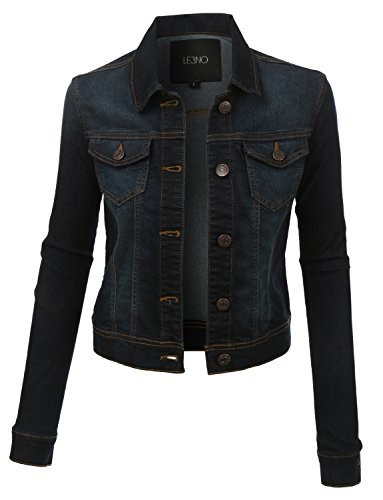 LE3NO Womens Classic Long Sleeve Denim Jean Jacket with Pockets