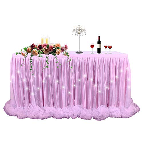 LED Table Skirt 9ft Pink Tulle Table Skirt Tutu Table Cloth Skirting for Rectangle or Round Table for Baby Shower Wedding and Birthday Winter Party Decoration(L9(ft) -