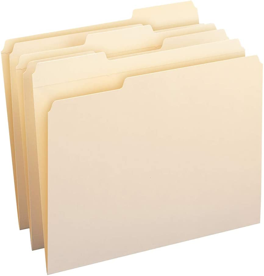 Smead File Folder, Reinforced 1/3-Cut Tab, Letter Size, Manila, 100 Per Box (10334)