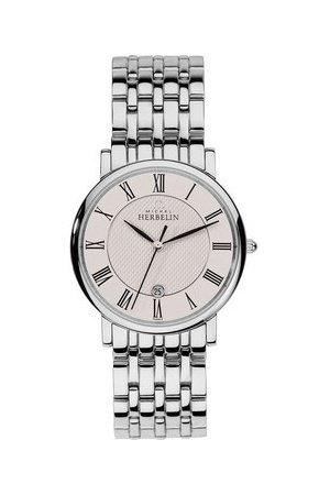 Michel Herbelin Men's 36mm Steel Bracelet & Case Sapphire Crystal Quartz Silver-Tone Dial Watch 12543/B01
