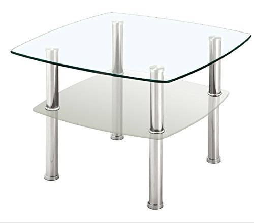 Fineboard Glass Coffee Table/Side Table Glass Top, Silver Metal Legs ()