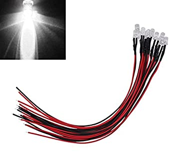 10x 12v White Led Light Individual Single Bulb With Attached 9 Wire