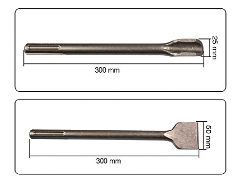 2 teiliges Set SDS MAX Hohlmei/ßel 25 x 300 mm Breitmei/ßel 50 x 300 mm