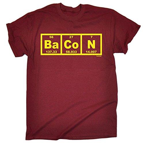 Fonfella Slogans Men's Bacon Periodic Elements Table - Loose Fit T-Shirt Large Maroon