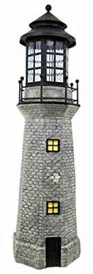 Solar Lighthouse Garden Figurine Light, Gray Color, 39