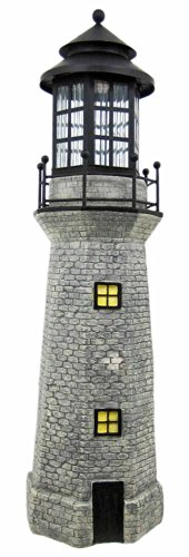 Solar Lighthouse Garden Figurine Light, Gray Color, 39 -
