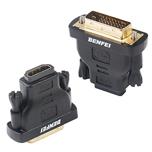 DVI to HDMI, Benfei Bidirectional DVI (DVI-D) to HDMI Male to Female Adapter with Gold-Plated Cord 2 ()