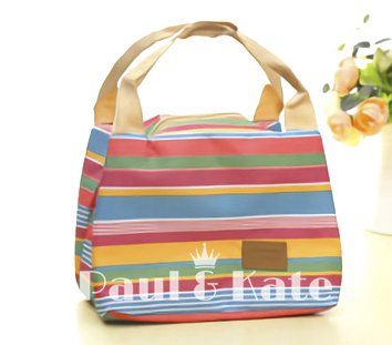 Stripe Lunch Box - Paul & Kate Reusable Thermal Foldable Lunch Tote Bag Cooler Bag Insulated Lunch Box Picnic Bag School Cooler Bag for Men Women Ladies Girls Children Kids Student (Rainbow Stripes)
