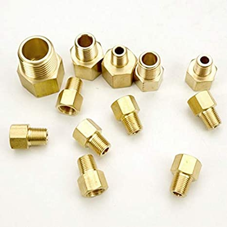 Color : NO1 Qiyuezhuangshi01 1//8 1//4 3//8 1//2 NPT BSP Female To Male Reducing Brass Pipe Fitting Adapter For Pressure Gauge Water Gas Oil Fuel